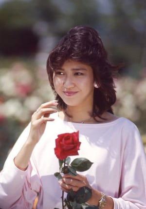 バラを持つ賀来千賀子