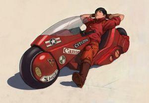 大友克洋の大人気漫画『AKIRA』に登場するバイクを追求する人々の画像